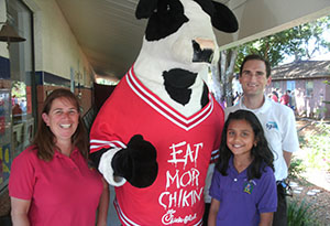 Chick-Fil-A Cow Congratulates a Winner