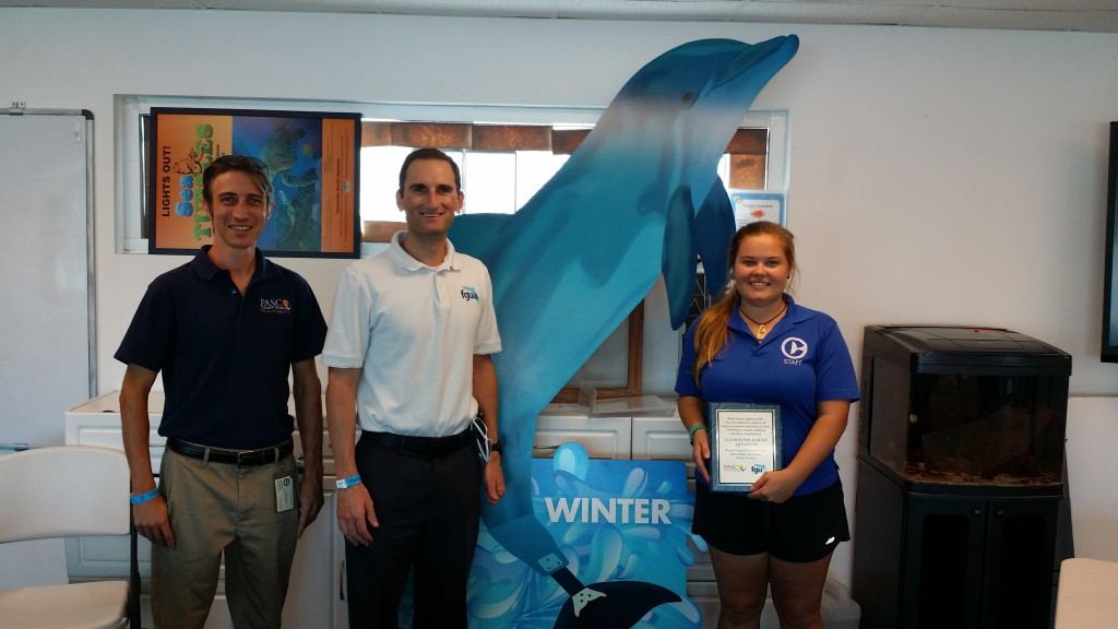 FGUA and Pasco County staff recognize the Clearwater Marine Aquarium (CMA) for their contributions to the 2016 program. CMA will be returning as a sponsor in 2017.