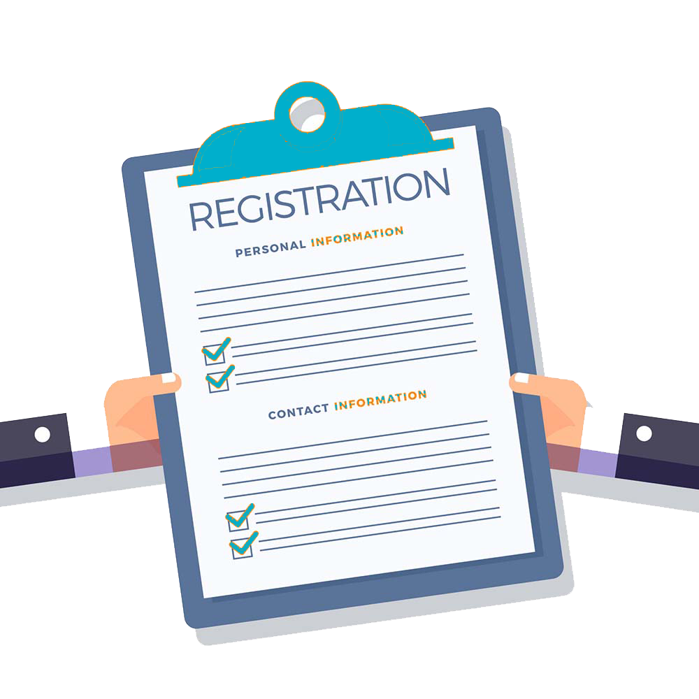 graphic depiction of a registration form on a clipboard