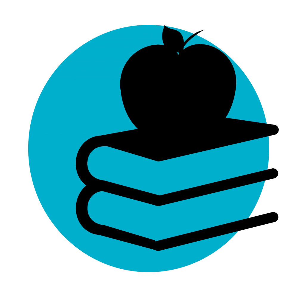 graphic of an apple on top of books